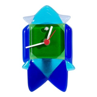 V. Nason & C. Murano Italy Postmodern Fused Glass Clock For Sale