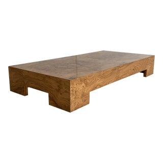 1970's Milo Baughman Burl Wood Cocktail Table For Sale