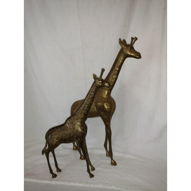 22 Inch 1960's Mid Century Brass Giraffe and Baby - a Pair For Sale In Sacramento - Image 6 of 10