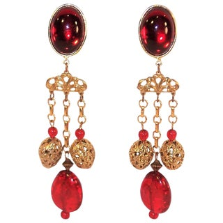 Runway 1980's Amy Jo of New York Red & Gold Clip on Earrings For Sale