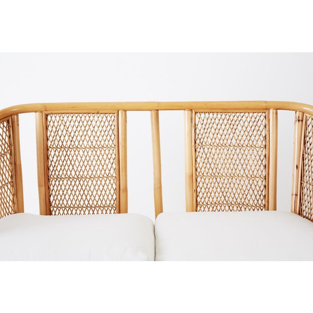 Midcentury Bamboo Rattan Wicker Settee or Loveseat For Sale In San Francisco - Image 6 of 13