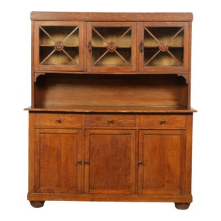1940s French Mission-Style Oak Buffet With Regency Glass Doors For Sale