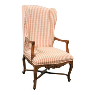 Louis XV Carved Walnut Wing Chair