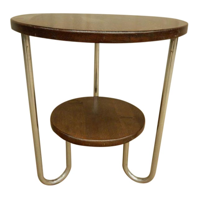 1940's French Two Tier Wood and Chrome Round Table For Sale