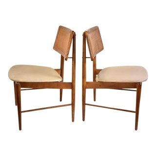 Danish Mid Century Modern Chairs With Caning- a Pair For Sale