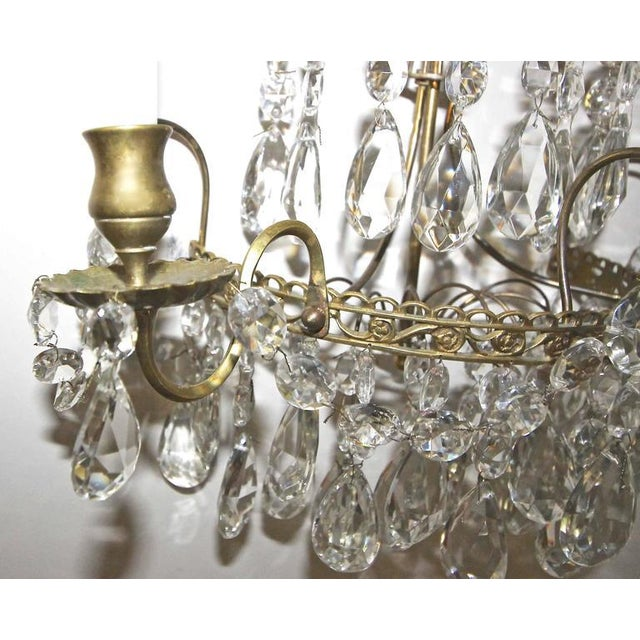 1920s Swedish Gustavian Style Crystal and Brass Candle Wall Sconces - a Pair For Sale - Image 9 of 11