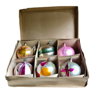 Mid Century Christmas Tree Ornaments W//Box For Sale