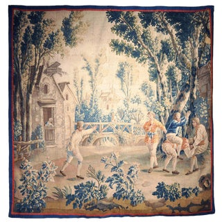 """18th Century French Aubusson Tapestry Called """"Le Saute-Mouton"""" by j.b. Huet"""