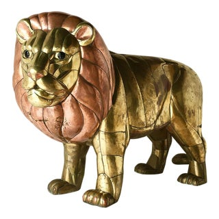 Bustamante Signed Large Brass and Copper Lion For Sale