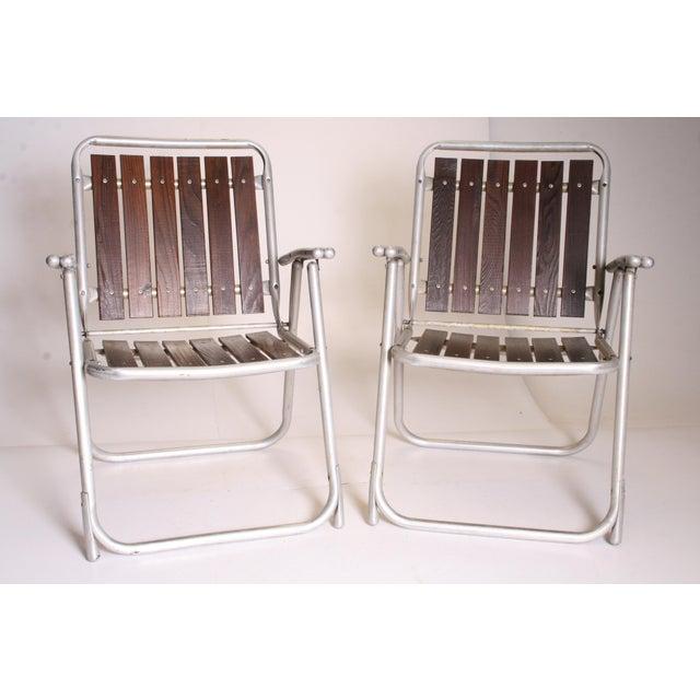 Vintage Redwood & Aluminum Folding Rocking Chairs - Set of 4 - Image 7 of 11