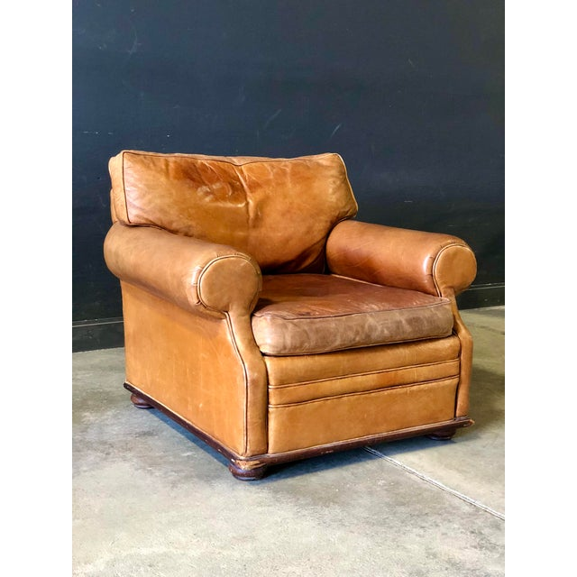 Vintage Ralph Lauren Camel Leather Chair For Sale - Image 10 of 10
