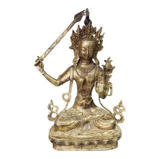 Early 18th Century Sino-Tibetan Tikshna-Manjushri Gilt Bronze Figurine For Sale