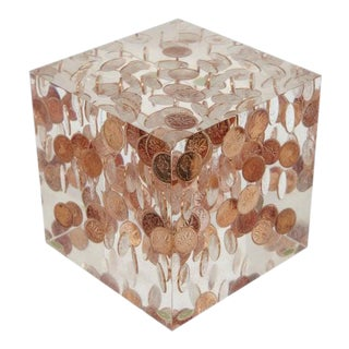 1969 Canadian Pennies in Lucite Paperweight For Sale