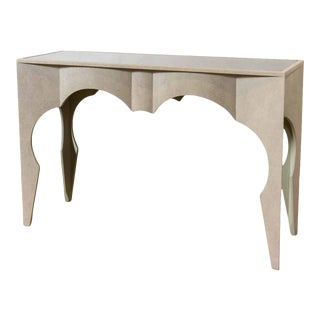 Faux Shagreen Mirror Top Console For Sale
