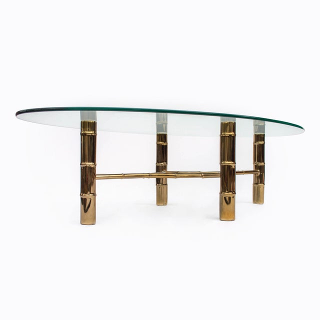 Hollywood Regency Brass Faux Bamboo Oval Coffee Table For Sale In New York - Image 6 of 8