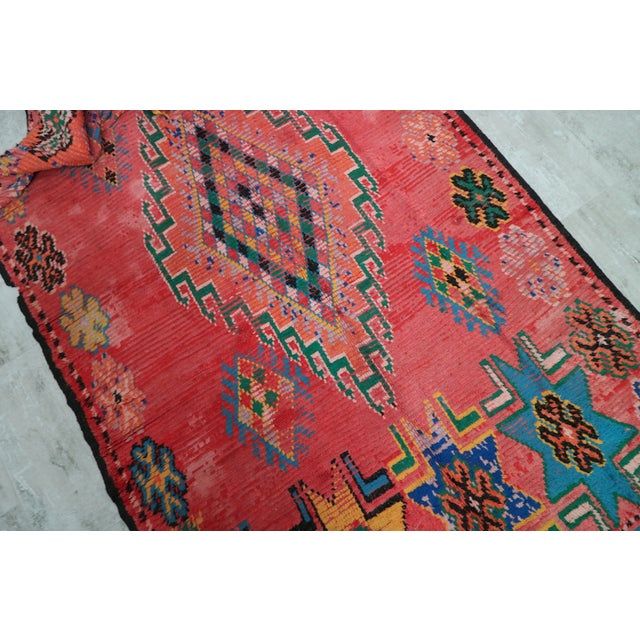 Tribal style rug, over 60 years old. The piece is from Morocco. Condition: Good w/ abrash and low pile areas Size in...