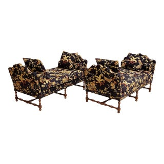 English Traditional Embroidered Upholstery Daybeds - a Pair For Sale