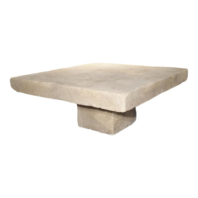 Large Limestone Coffee Table From Provence, France For Sale