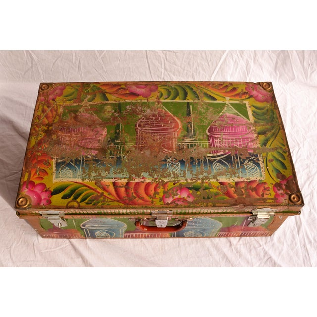 Metal 1950s Regency Indian Hand-Painted Steel Trunk For Sale - Image 7 of 10