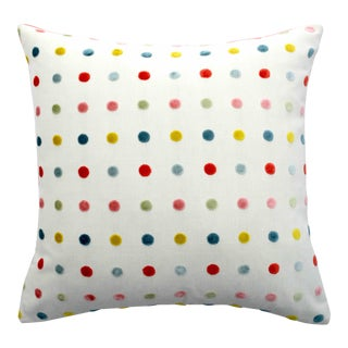 FirmaMenta Italian Multicolor Polka Dot Light Blue Velvet Pillow For Sale