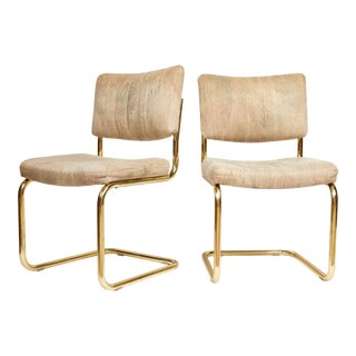 Pair of Brass Cantilever Chairs by Chromcraft For Sale