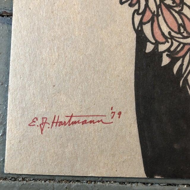Original colored marker drawing on cardboard signed bottom left 11 x 14 unframed