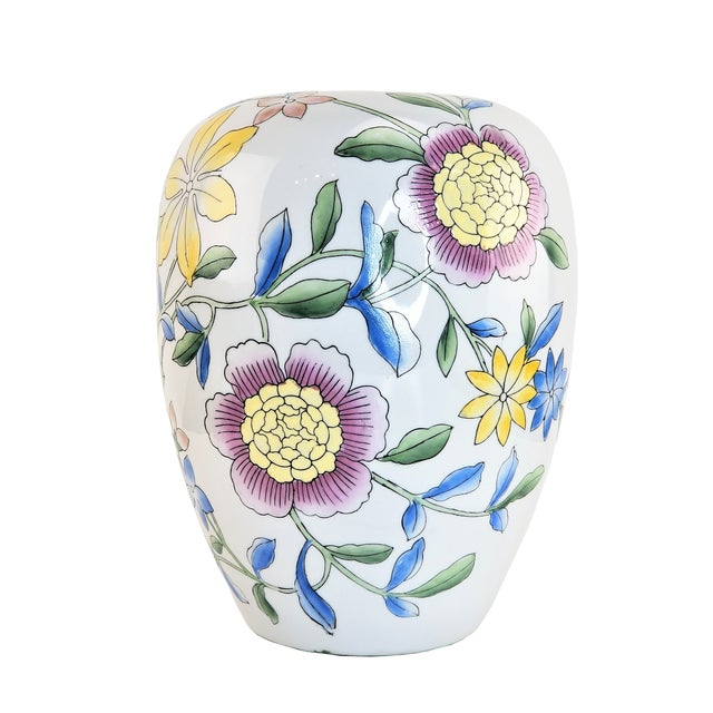 """Amazingly beautiful Asian 14"""" floral pink peony white yellow Chinese porcelain vase decor. This lovely and huge vase is..."""