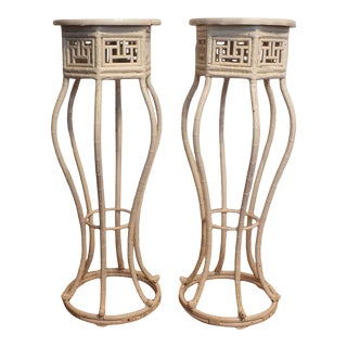 1960s Chinese Chippendale Bamboo Pedestals - a Pair For Sale