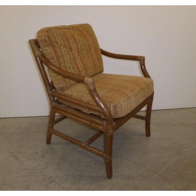 1950s Vintage Mid Century Modern McGuire Tan Stripped Bamboo Rattan Accent Chair For Sale - Image 5 of 12