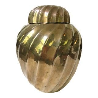 Mid Century Brass Swirl Design Ginger Jar For Sale