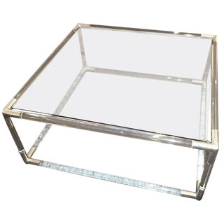 Tubular Lucite and Chrome Coffee Table For Sale