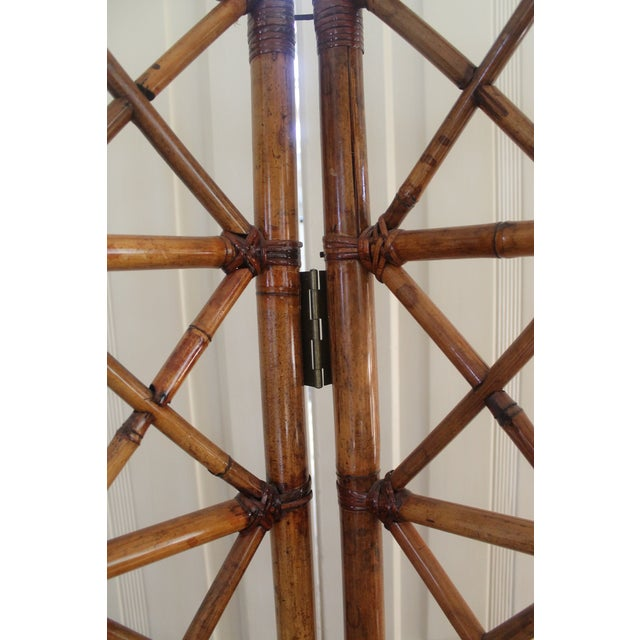 1970s Vintage Bamboo Rattan Folding Room Divider For Sale - Image 5 of 12