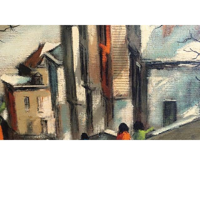 "Contemporary Robert Fabe ""View From the Steps"" Tempera on Canvas Painting For Sale - Image 3 of 11"