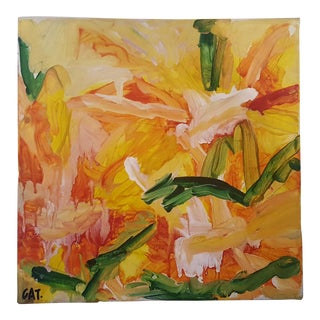 Original Abstract Floral Acrylic Painting on Canvas Signed