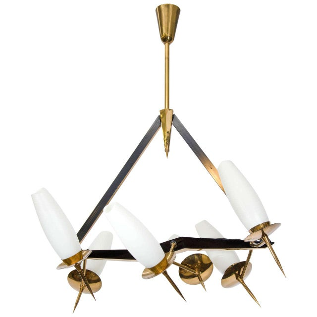 Mid-Century French Chandelier with Adjustable Arms For Sale - Image 10 of 10