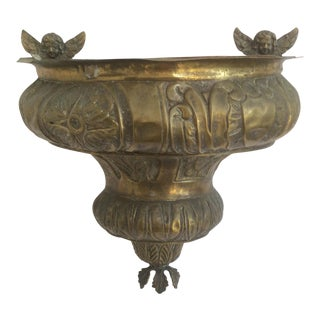 Antique Hanging Brass Repousse Container With Angels For Sale
