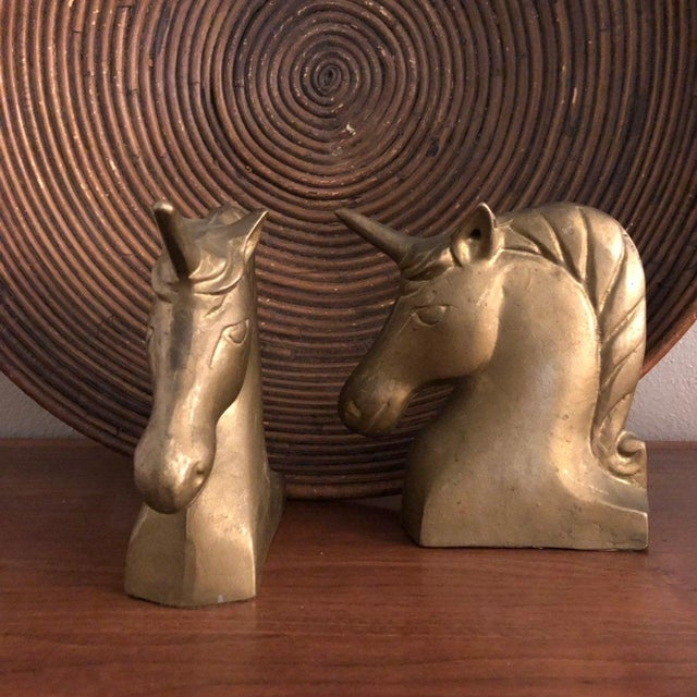 Metal Vintage Brass Unicorn Bookends Large For Sale - Image 7 of 8