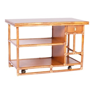 Midcentury McGuire Faux Bamboo Bar Cart For Sale