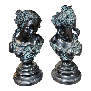 1900s French Art Nouveau After Albert Carrier Bronze-Patinated Spelter Maiden Bust Sculptures - a Pair For Sale