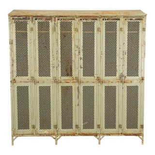 Antique French Industrial Original Painted Lockers