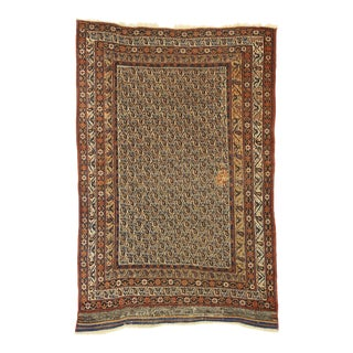 Distressed Antique Persian Bijar Accent Rug - 04'04 X 06'04 For Sale