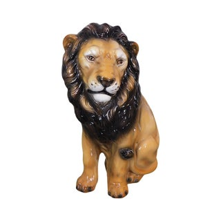 Hand Painted Vintage Italian Seated Lion Statue For Sale