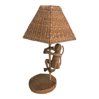 Mario Lopez Torres Table Wicker Monkey Lamp With Shade** For Sale