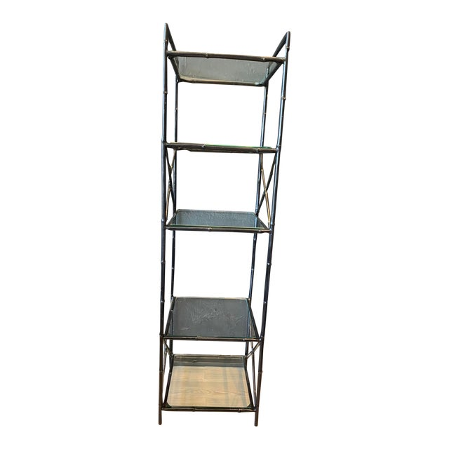 Vintage 5 Tier Faux Bamboo Metal Shelving For Sale