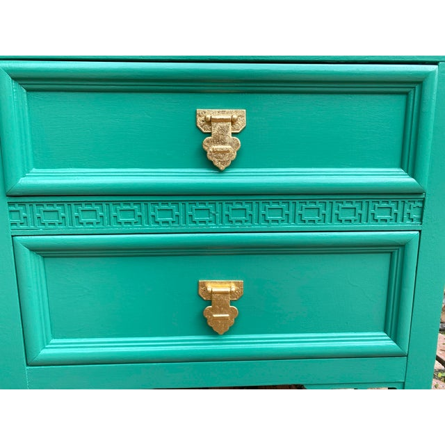 Dixie Furniture Co. 1960's Dixie Shagri La Green and Gold Leaf Hollywood Regency Nightstands- a Pair For Sale - Image 4 of 13