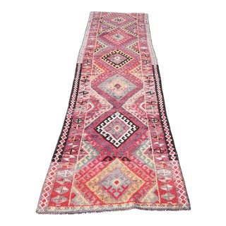 1960's Vintage Turkish Hand-Knotted Hallway Runner-2′9″ × 11′10″ For Sale
