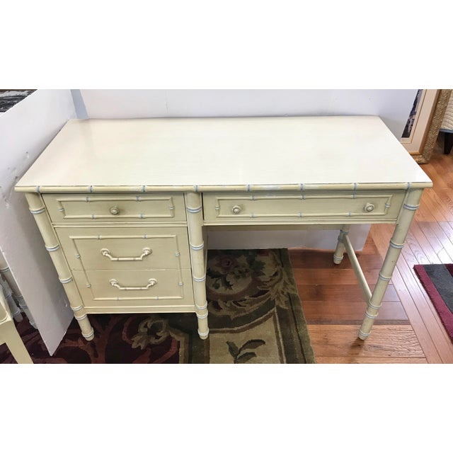 White Vintage Thomasville Cream Painted Faux Bamboo Desk and Chair For Sale - Image 8 of 10