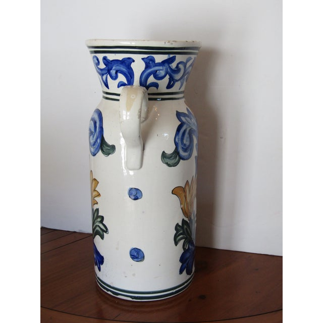 Boho Chic 20th Century Large Terra Cotta Hand Painted Pitcher For Sale - Image 3 of 5