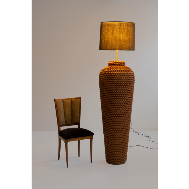 Pair of Monumental Wrapped Rope Floor Lamps For Sale - Image 4 of 7