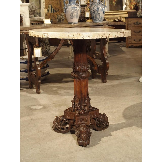 Antique Circular Genoese Carved Wood and Marble Table, Circa 1820 For Sale - Image 13 of 13
